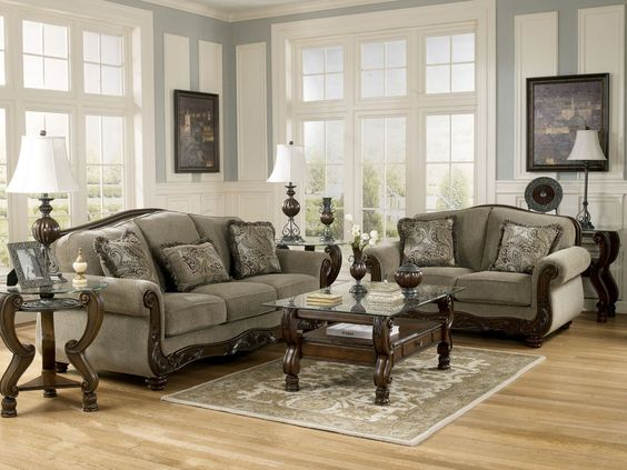Norwich - Traditional Wood Trim & Fabric Sofa Couch & Loveseat Set