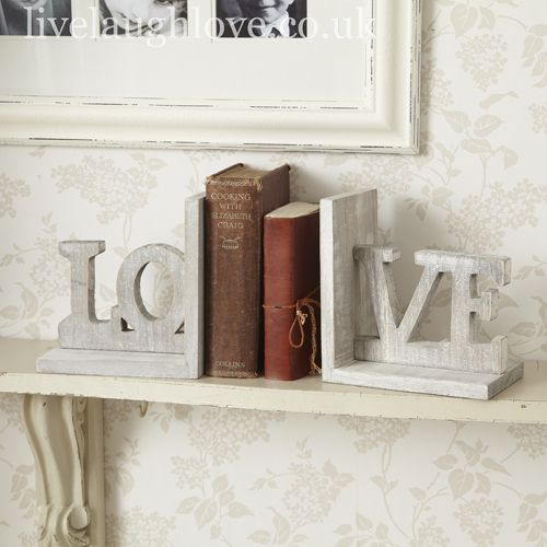 """LOVE"" Bookends: Chic Ideas, Decor Ideas, Decorate Books, Shabby Chic Bedroom, Bookends Better, Bookends Livelaughlove, Bookends 14, Bedroom Ideas"