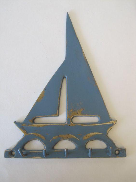 Vintage Brass Sailboat Key Holder Slate Blue Shabby Beach Cottage Housewarming gift