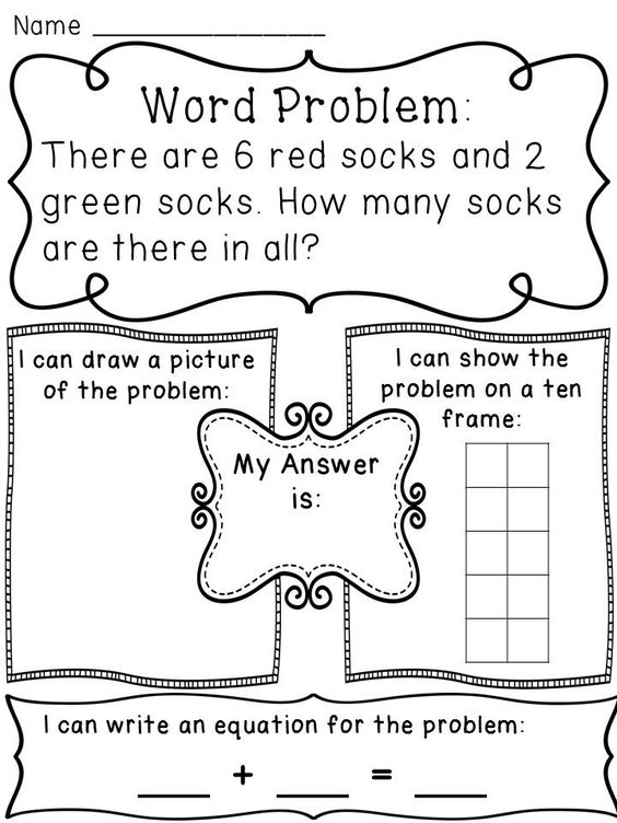 Addition Word Problems Hands On Activity Worksheets | Word ...