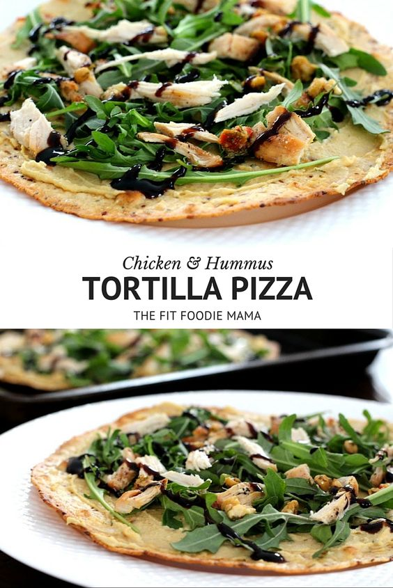 A no tomato sauce healthy chicken and hummus tortilla pizza recipe that's quick and easy to make on for a weeknight dinner or even for lunch. It's also gluten free, dairy free and allergy friendly! TheFitFoodieMama.com