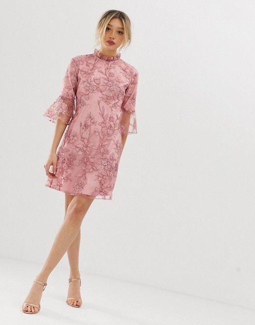 Chi Chi London Petite A Line Mini Dress With Embroidery In Rose Pink Asos Chi Chi London Petite Mini Dress Dresses