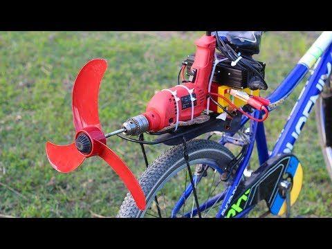 Homemade Air Bike Using Drill Youtube Sepeda Kreatif Ide