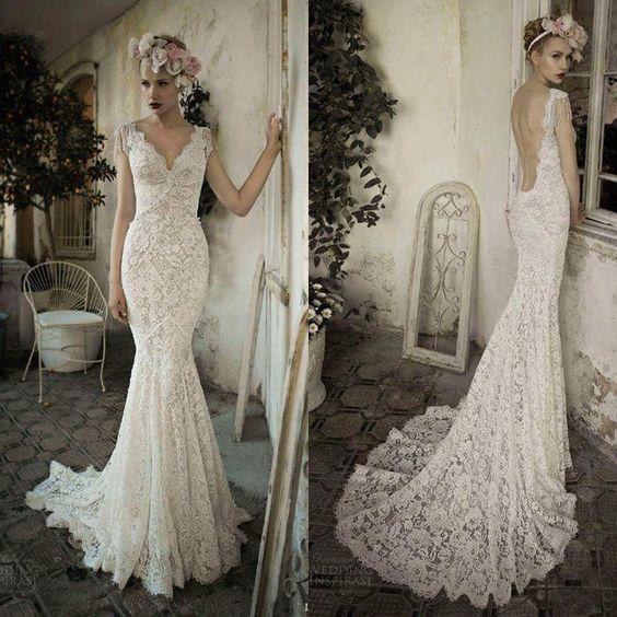 Twvc WhiteIvory Open Back Lace Wedding Dress Wedding Dresses - u küchen günstig kaufen