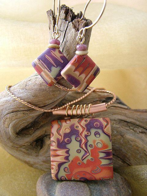 Jambalaya - Mokume Gane Pendant & Earrings by julie_picarello, via Flickr
