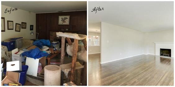 Removed paneling, painted the dated fireplace brick and walls and refinished the floors...after removing all of the stuff!  FOR AN OFFER ON YOUR HOME IN JUST 7 MINUTES PLEASE VISIT www.ExpressHomebuyers.com