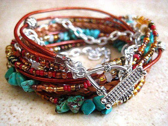 Boho Chic Endless Leather Wrap Beaded Bracelet by LeatherDiva