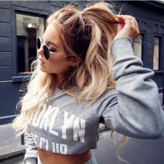 Half up ponytail hairstyle