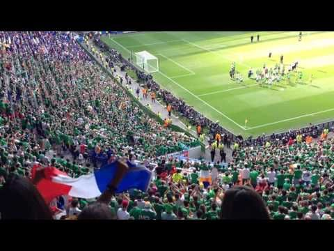 Irish fans singing for their team after France-Ireland at Parc Olympique Lyonnais | Euro 2016 - YouTube