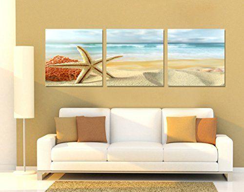 Spirit Up Art Huge Home Decorations-Starfish on Beach Canvas Print ...