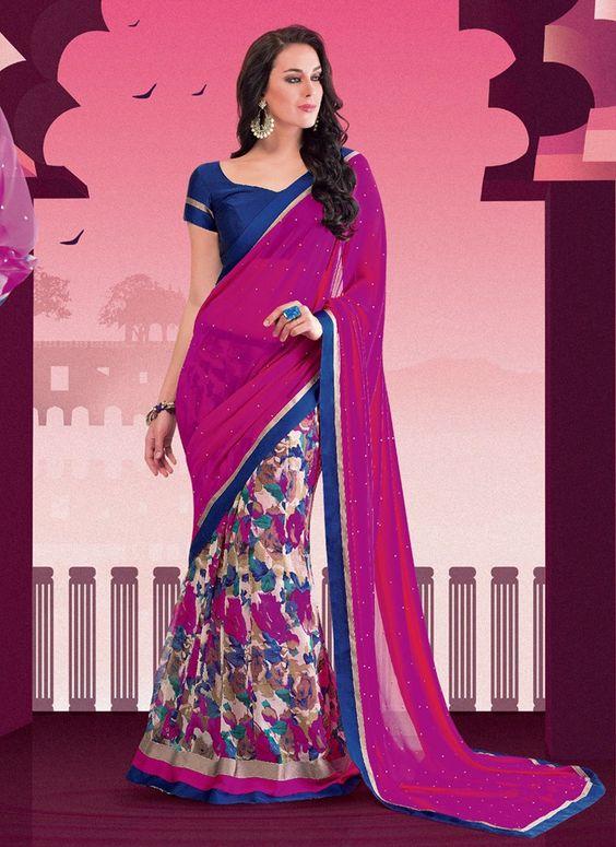 Sari indien Orphique pas cher Pour le Parti doté d'une touche d'originalité exceptionnelle. Son design conçu avec beaucoup de goût lui confère un côté élégant et raffiné.