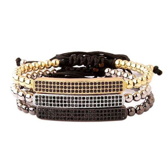 Adjustable Inlay Zircon Macrame Bracelet