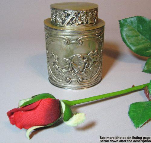 C1890 Art Nouveau German Silver Tea Caddy Repousse Nude Ladies Scrolls Grapes | eBay