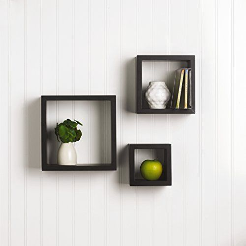 3 Pieces Floating Box Shelves Wall Mount Display Rack Home Decor Wooden Finish Floating Shelves Square Shelf Wall Cubes
