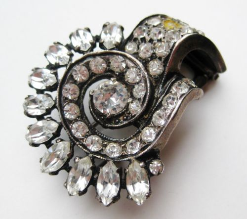 Fine-Vintage-Art-Deco-Eisenberg-Original-Sterling-Silver-Rhinestone-Fur-Clip-Pin