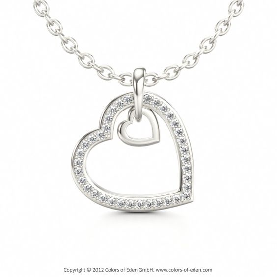 Diamond pendant two hearts white jewels pinterest colgante de diamond pendant two hearts aloadofball Image collections