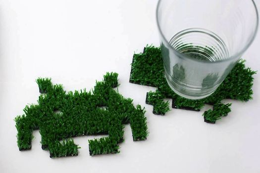 Space Invaders turn into grassy Coasters