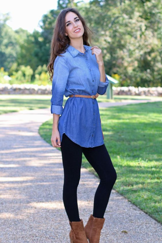 Who doesn't love a great chambray top? This Simply Sweet Ombre Chambray Tunic is perfect to pair with leggings or cropped skinnies. Top features button down closure, ombre wash, and is belted at waist. Sleeves are three-quarters, but can be unrolled for additional length. Complete the look with our Black Leggings and Perfect Together Booties. - Runs small, order a size up. - Semi-fitted. - Unlined. - Shell: 100% Cotton - Hand wash cold / Dry flat - Imported. - Model is 5'7 size 2/4, shown wearin