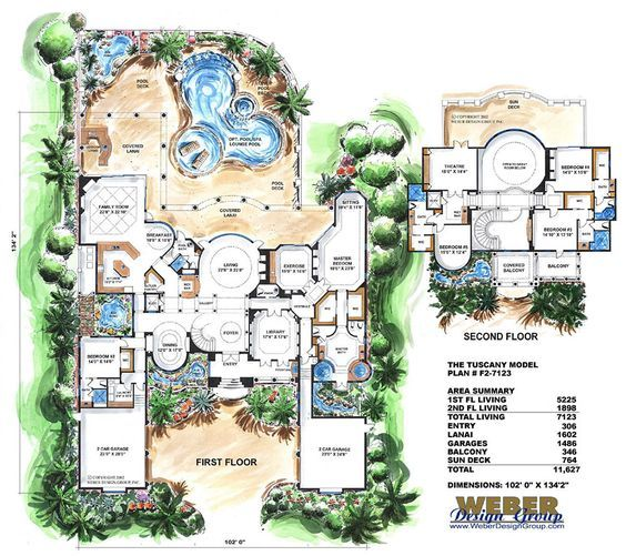 Mediterranean House Plan 2 Story Waterfront Mansion Floor Plan W Pool Tuscany House Luxury House Plans Tuscan House Plans