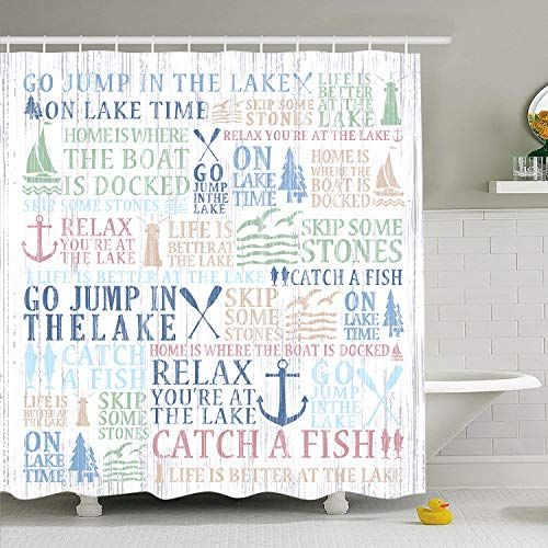 Lake Time Shower Curtain Lake Words Bathroom Shower Curta Https