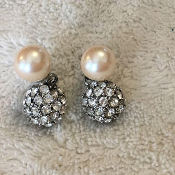 Pearl and rhinestone post earrings Pearl and rhinestone post earrings Jewelry Necklaces