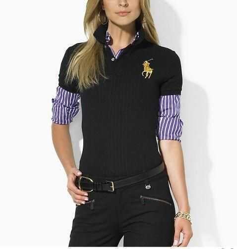 polo ralph lauren cheap Women\u0026#39;s Classic Big Pony Short Sleeve Polo Shirt Black http:/