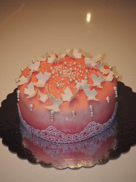 Cake butterflies pearls laces Torte Schmetterlinge Perlen Spitzen