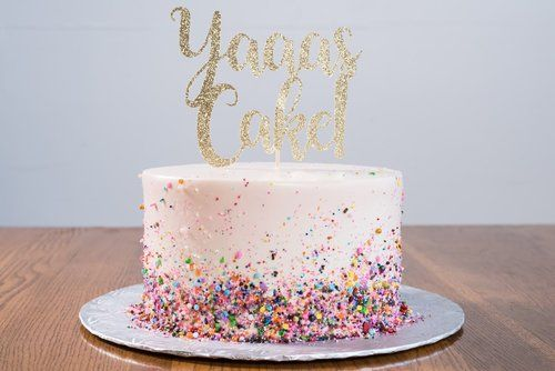 Modern Birthday Cake Design With Rainbow Sprinkles And Cake Topper