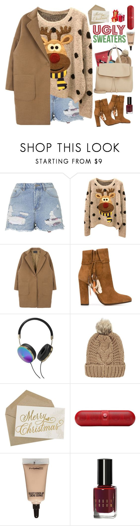 """""""2107. Ugly Sweater"""" by chocolatepumma ❤ liked on Polyvore featuring Topshop, Aquazzura, Frends, Chicnova Fashion, Beats by Dr. Dre, MAC Cosmetics and Bobbi Brown Cosmetics"""