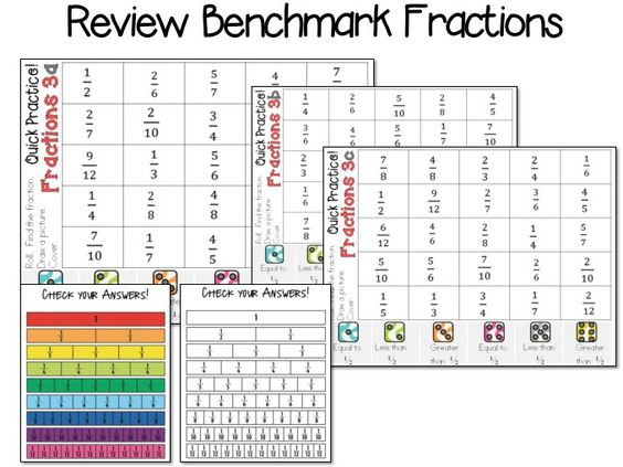 benchmark fractions quick printable game math center – Benchmark Fractions Worksheet