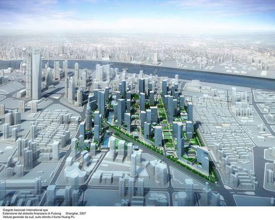 Estensione del distretto finanziario di Pudong, Shanghai, 2007 - Gregotti Associati International, Vittorio Gregotti