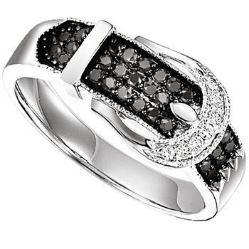 Sterling silver black genuine diamond ring
