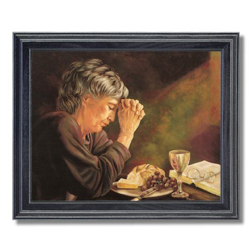 Gratitude Old Lady Praying At Dinner Table Daily Bread