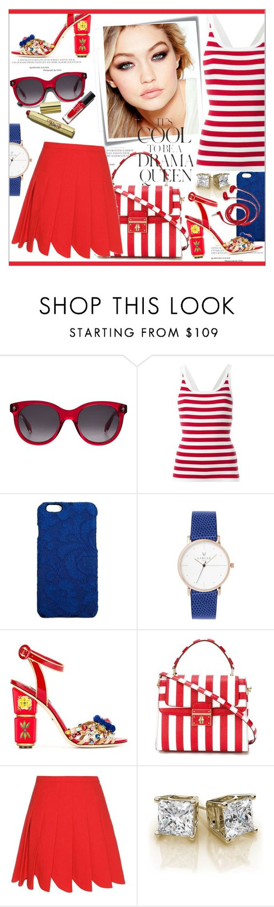 """""""Marine Layer * Striped Shirts"""" by calamity-jane-always ❤ liked on Polyvore featuring Alexander McQueen, Dolce&Gabbana, Post-It, Maybelline, Miu Miu, Emma Watson, FOSSIL, dolcegabbana, fashionset and stripedshirt"""