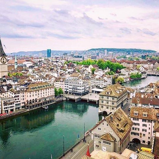 Zurich From The Rooftops Happy Monday Zurich Switzerland Rooftop City Cityview Cityscape Beautiful Spires Roofs Sky View Beautiful Zurich