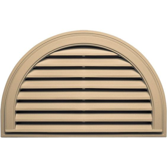 Builders Edge 22 In X 34 In Half Round Gable Vent In Sandstone Maple Gable Vents Gable Roof Design Fiberglass Screen