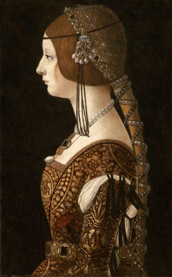 Portrait of Bianca Maria Sforza,1493 by Giovanni Ambrogio de Predis: