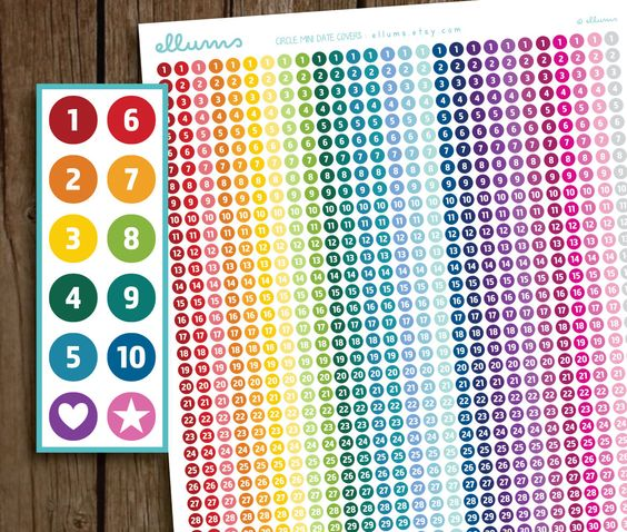 Mini Circle Date Covers | PRINTABLE Instant Download ...
