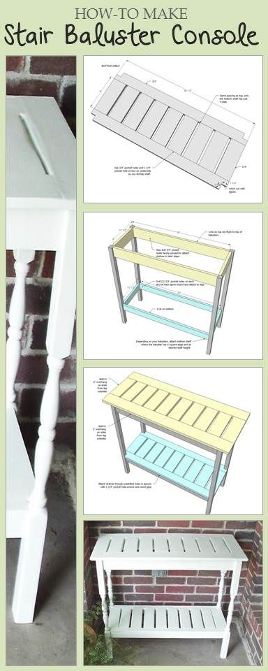 Build a console table with stair balusters free step by for Wood balusters for tables