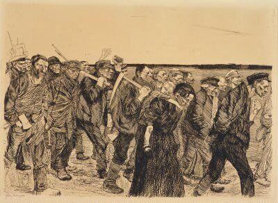 Käthe Kollwitz, March of the Weavers, Etching, 15 3/8 x 19 3/4 in, 1897, Minneapolis Museum of Arts. This is not necessarily a portrait but rather an image based on Gerhart Haumptmann's play, The Weavers. The play and the print are a reference to the story's theme of the rebellion of the disenfranchised workers.  This piece is important to note in coming to understand the deeply empathic themes of her self-portraits.: