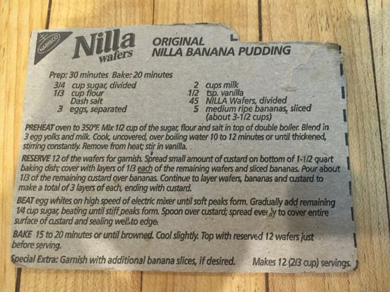 Original Nilla Wafer Banana Pudding Recipe