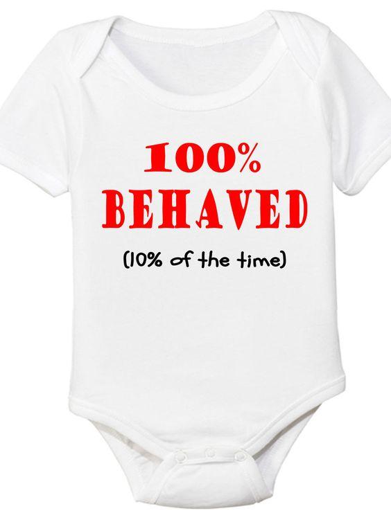 "The Spunky Stork ""100% Behaved"" Bodysuit"
