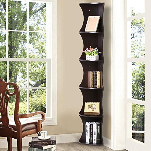 Yaheetech 5 Tier Brown Round Wall Corner Shelf Skinny Display Rack Casual Home Office Furniture Amazon Most Trusted E Ret Wall Shelf Decor Shelves Bookcase