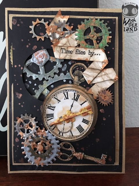 Steampunk Time Clock Embossing Folder Birthday Card Making Scrapbooking Diary