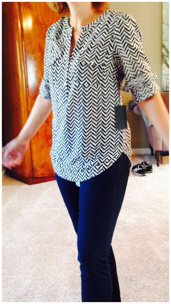 FIX #4 - Filbert Arrow Print Henley Blouse and Denna Dark Wash Skinny Jean - the jeans are a great basic and a great fit - the top fun with white jeans for summer, dark for transition