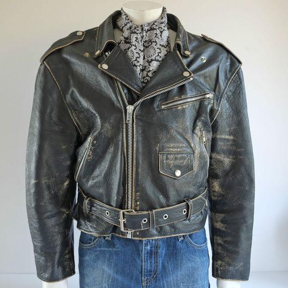 Vintage Mens Perfecto Style Black Leather Biker Jacket. Brando Punk. Size L, 42