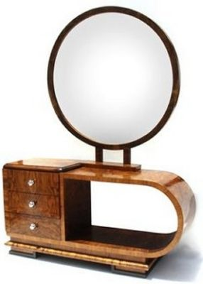 Art deco dressing table with mirror.