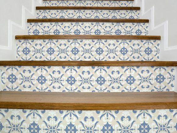 stickers escalier vintage beige et bleu magnifique escalier autocollants stickers pour. Black Bedroom Furniture Sets. Home Design Ideas