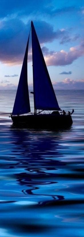 "Blue sailboat in the deep blue sea as purple clouds dot the sunset.  John 14:27, Jesus:  ""Peace I leave with you, My peace I give to you; not as the world gives do I give to you. Let not your heart be troubled, neither let it be afraid."""