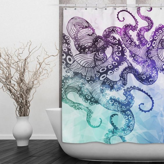 Watercolor Octopus Shower Curtain - Beautiful Blue and Purple Octopus Print Shower Curtain - 2 Sizes